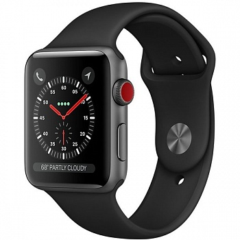 Apple Watch Series 3 GPS + Cellular 42mm Space Gray Aluminum w. Black Sport B. (MQK22) - ITMag