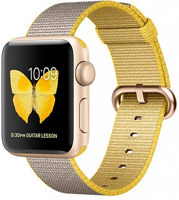Apple Watch Series 2 38mm Gold Aluminum Case with Yellow/Light Gray Woven Nylon Band (MNP32) - ITMag
