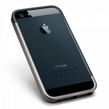 Бампер SGP Linear EX Slim Metal Series для Apple iPhone 5/5S (+ пленка) (Серый / Metal slate) - ITMag