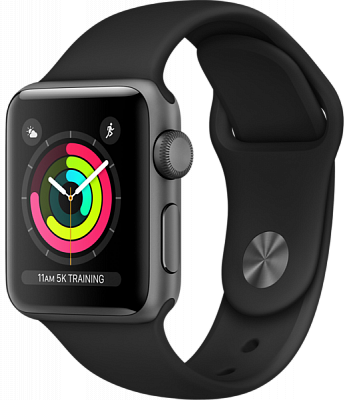 Apple Watch Series 3 GPS 38mm Space Gray Aluminum w. Black Sport B. - Space Gray (MTF02) - ITMag