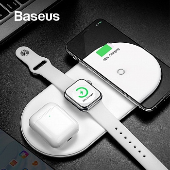 Baseus Smart 3in1 Wireless Charger For Phone+Watch+Pods(18W MAX)White (WX3IN1-02) - ITMag