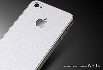 Защитная наклейка SGP Skin Guard Set Series для Apple iPhone 5/5S (Белая кожа / White Leather) - ITMag