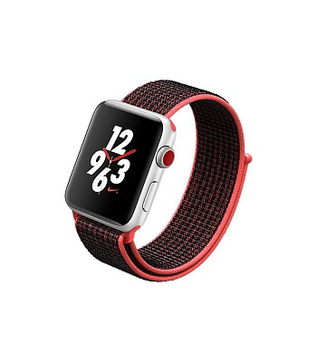 Apple Watch Nike+ Series 3 (GPS + Cellular) 42mm Silver Aluminum w. Bright Crimson/BlackSport L. (MQLE2) - ITMag