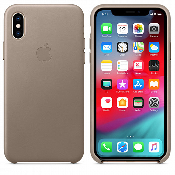 Apple iPhone XS Max Leather Case - Taupe (MRWR2) - ITMag