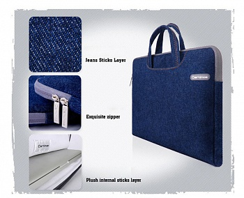 Сумка для ноутбука EGGO Cartinoe Jean Series для MacBook Air Pro 13.3 (Синяя / Blue) - ITMag