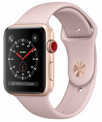 Apple Watch Series 3 GPS + Cellular 38mm Gold Aluminum Case with Pink Sand Sport Band (MQJQ2) - ITMag