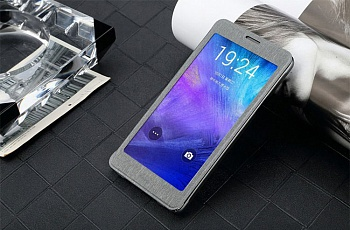 Чехол USAMS Touch Series Leather Cover for Samsung Galaxy Note 4 w/ APP Smart Dormancy - Iron Grey - ITMag
