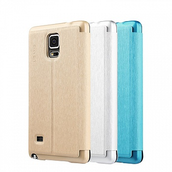 Чехол USAMS Touch Series Leather Case for Samsung Galaxy Note 4 w/ APP Smart Dormancy - Silver - ITMag