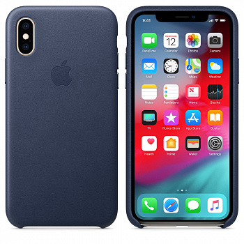 Apple iPhone XS Max Leather Case - Midnight Blue (MRWU2) - ITMag
