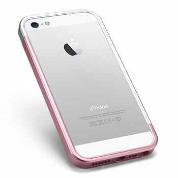 Бампер SGP Linear EX Slim Metal Series для Apple iPhone 5/5S (+ пленка) (Розовый / Metal Pink) - ITMag