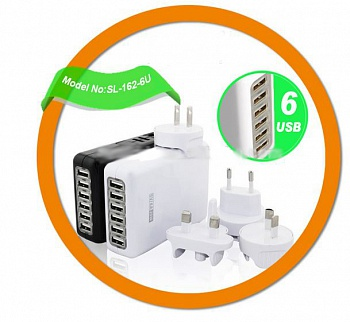 Универсальный блок питания 40W 6-Port Family-Sized Desktop USB Charger with for iPhone 5s 5c 5; iPad - ITMag