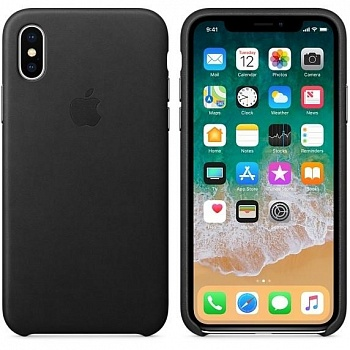 Apple iPhone X Leather Case - Black (MQTD2) - ITMag