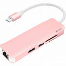 WIWU Adapter T4 USB-C to USB-C+RJ45+SD+2xUSB3.0 HUB Rose Gold (96957815504831) - ITMag