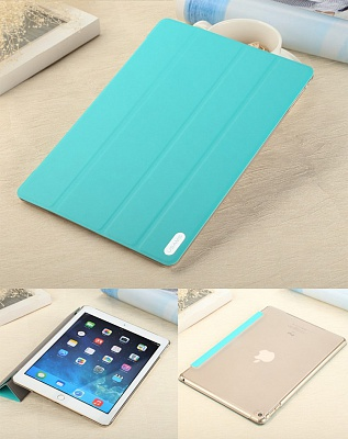 Чехол USAMS Viva Series for iPad Air 2 Slim Four-fold Stand Smart Leather Case - Cyan - ITMag