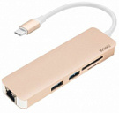WIWU Adapter T4 USB-C to USB-C+RJ45+SD+2xUSB3.0 HUB Gold - ITMag