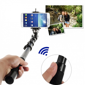 Selfie Stick EGGO with Bluetooth Remote Camera Shooting  - Black - ITMag