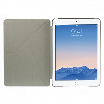 Чехол EGGO для iPad Air 2 Cross Texture Origami Stand Folio - Coffee - ITMag