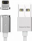 Wsken USB Cable to Lightning X-cable Mini 2 Metal Magnetic 1m Silver (6956071023025) - ITMag