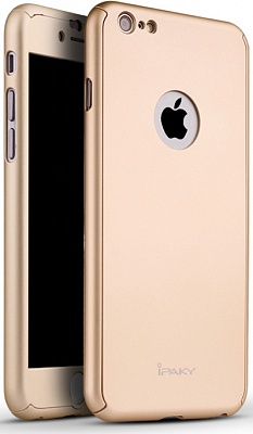 Чехол 3in1 iPaky 360 PC Whole Round для iPhone 6 / 6s (Gold | With Back Hole+ стекло) - ITMag
