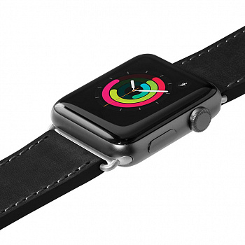 Кожаный ремешок для Apple Watch 42/44 mm LAUT SAFARI Black (LAUT_AWL_SA_BK) - ITMag