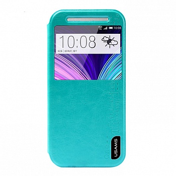 Чехол USAMS Merry Series for HTC One M8 Smart Leather Stand Cyan - ITMag